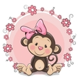 Greeting card cute Monkey girl vector image vector image