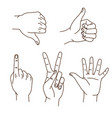 hands gestures hand drawn set logo design vector image