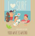 i love surf vector image