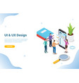 isometric ui and ux designer concept with team vector image vector image