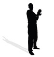 man with globe in hand vector image