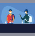 men with masks washing her hands design vector image vector image