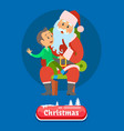merry christmas kid telling dreams to santa claus vector image vector image