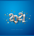 metallic silver letter balloons on blue 2021 vector image vector image
