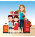 mother with daughter and son on the beach vector image