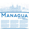 outline managua skyline with blue buildings and vector image vector image