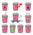 pink cup with different emotions vector image