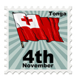 post stamp of national day of Tonga vector image vector image