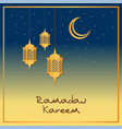 ramadan card design with gold lanterns and stars vector image
