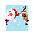 reindeer and santa claus diagonal banner on blue vector image