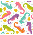 seamless pattern with cute sea horse vector image vector image