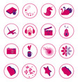 set icons 16 icons highlights and social vector image