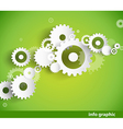 Set of cogwheels on green background and place for vector image vector image