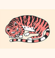 sleeping cat or kitten meow power cute pet hand vector image