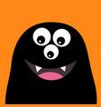 smiling monster head silhouette thtee eyes teeth vector image