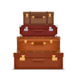 stack vintage suitcases vector image