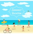 Summer vacation background People on beach party vector image vector image