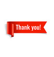thank you banner red paper twisted ribbon vector image