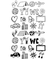 Travel icons set doodles hand drawn vector image