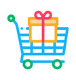 trolley with gift icon outline vector image