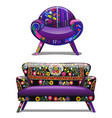 vintage sofa and chair with a bold pattern vector image vector image