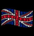 waving british flag collage of gentleman hat items vector image