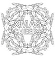 xmas cheers black and white poster with holly vector image