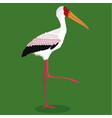 yellow billed stork cartoon bird vector image vector image