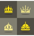 Yellow crown icons with shadow vector image vector image