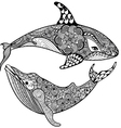 Zentangle stylized Sea Shark and Whale Hand Drawn vector image vector image