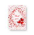 rectangular invitation with scarlet hearts vector image