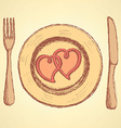 Sketch hearts on the plate in vintage style vector image
