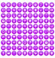 100 communication icons set purple vector image vector image