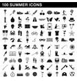100 summer icons set simple style vector image vector image