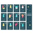 2019 zodiac calendar template with cute vector image