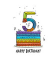 5th anniversary celebration greeting card vector image vector image