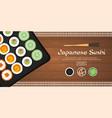 banner sushi rolls set sushi time chopsticks vector image vector image