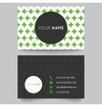 Business card template green and white pattern vector image