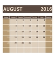 Calendar August 2016 week starts from Sunday vector image