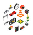 car racing isometric 3d icons vector image vector image