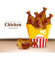 chicken wings box realistic fresh organic vector image