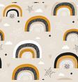 childish seamless pattern with creative rainbows vector image