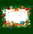 christmas frame of gifts and tree decorations vector image vector image