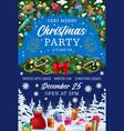 christmas garland gifts xmas party invitation vector image vector image