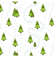 Christmas Trees and Tracks Seamless Pattern vector image vector image