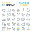 collection linear icons cleaning service vector image