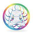 colorful chakra meditating man vector image