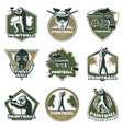 colorful vintage active leisure emblems set vector image vector image