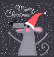 cute gray rat in santas hat wishes merry christmas vector image vector image