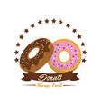 emblem donut bakery with ribbon and stars vector image vector image